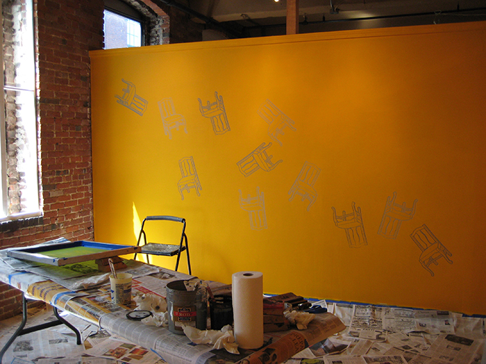 I Don't Know the Details, installation in process, Essex Art Center, Lawre