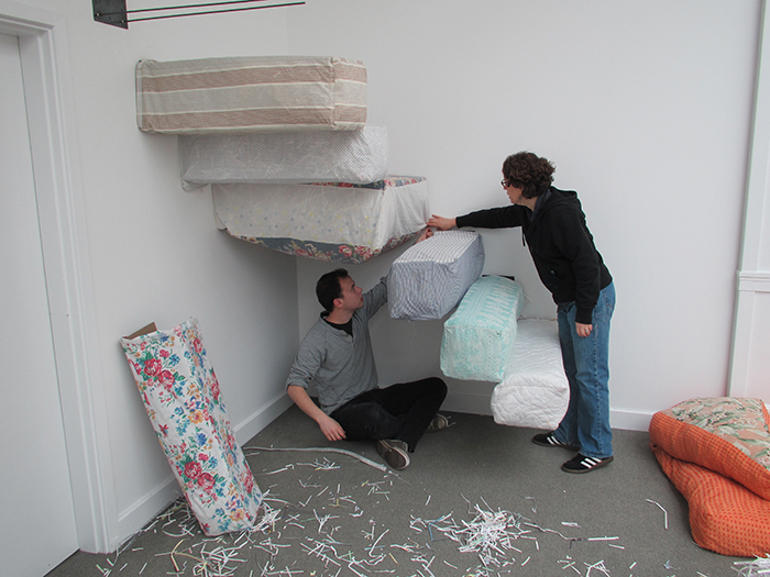 Up and Out, 2013, Installation in process at Trustman Art Gallery, Simmons College, Boston, MA