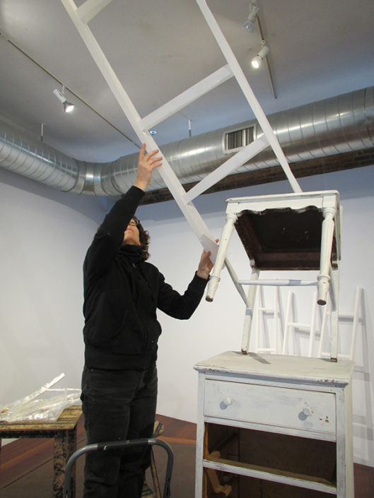 Steps installation in process at the Boston Sculptors Gallery, 2014