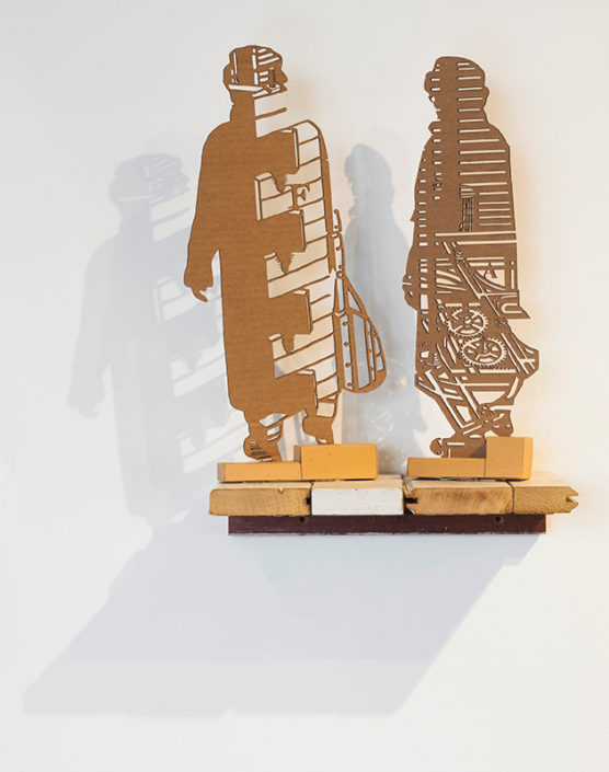 Immigrants, 2016, corrugated cardboard, installation view, Hudson (Show) Room, Artpace, San Antonio, Texas